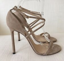 Jimmy Choo Strappy Shoes Hesper Beige Suede Size 40 NEW £550