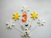 Snowflake, summer olaf, frozen personalised AGE birthday cake topper (no name )