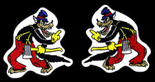 Big Bad Wolf Patch Middle Finger Cartoon Rockabilly Novelty pair set of 2