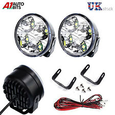 "DRL Daytime Running Lights Lamps 70mm/2.75"" Round 6000k 2x4 Clear White LED E4"