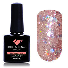 """407"" VB® Line Pink Grey Silver Glitter UV/LED Soak Off Nail Gel Colour Polish"