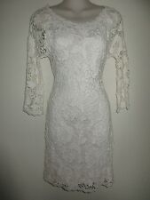 VELVET NWT! $159.00 Ivory Crochet Dress, Stretchy, 3/4 Sleeves, U-Neckline, 4P
