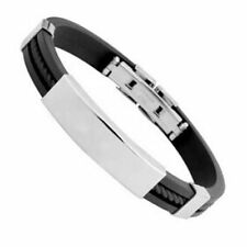 Men's Women's Attractive Stainless Steel Rubber Wristband Bangle Clasp Bracelet