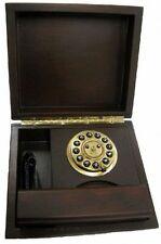 TELEFONO FISSO DESIGN VINTAGE RETRO STILE ANNI 30 CASSA LEGNO MOLTO ROBUSTO