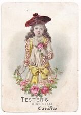 1800's*TESTER'S HIGH CLASS CANDIES*EMBOSSED VICTORIAN TRADE CARD*