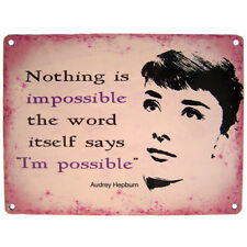 Retro Iconic Audrey Hepburn Nothing is Impossible Pink Wall Sign Plaque Gift