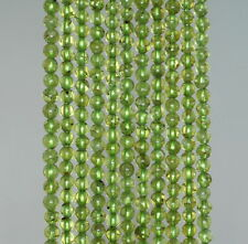 4MM  PERIDOT GEMSTONE GRADE A GREEN ROUND LOOSE BEADS 15.5""