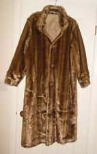 NWOT DONNA SALYERS FABULOUS FURS REVERSIBLE FULL LENGTH COAT TAN BUTTON DOWN L