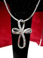 "925 STERLING SILVER REAL DIAMOND RIBBON CROSS PENDANT NECKLACE 17.5"" LONG"