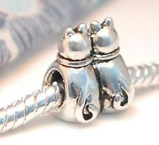 .925 SILVER BEAD EUROPEAN CHARM FOR BRACELET TWIN SISTER CATS CAT IN LOVE #H67