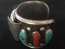 Vintage Sterling Silver Navajo Turquoise Coral Watch Cuff Bracelet