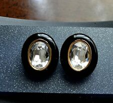 Vtg CHRISTIAN DIOR Clip On Clear Crystal Black Gold Tone Earrings Jewelry
