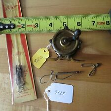 Antique Brass raised pillar fishing reel vintage fishing lure hooks (lot#9122)