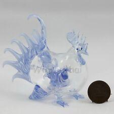 BLUE CHICKEN HEN w CHICK in tummy Hand Blown Glass Miniature Figurine