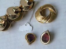 Vintage Signed Gold Earrings bracelet pin  MONET 3 PC LOT