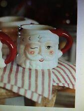 NEW POTTERY BARN Vintage Style CHRISTMAS SANTA MUG CUP Holiday Winking Santa