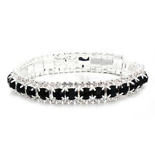 Fashion Womens Black Crystal Silver Bangle Bracelet Lucky hite gold fiiled 7.3in