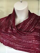 "Fab Crimson & Silver Long Scarf, Wrap, Throw -  Metallic Thread 60"" x 20""   /AA"