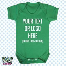 Custom Personalised BABY GROW Body Suit Sleep Vest Romper Gift-Choose text/logo1