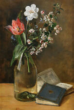 "perfect 24x36 oil painting handpainted on canvas ""flowers in vase,books""@NO4609"