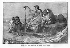 MUSIC OF THE SEA BY A. B. FROST WOMAN PLAYING THE HARP WITH LIONS ALONG SIDE HER
