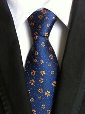 New Classic Floral Blue Orange Flowers JACQUARD WOVEN Silk Men's Tie Necktie