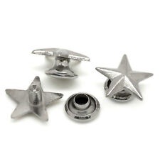 "Pkg of 20 Silver-tone 1/2"" STAR Metal Rivet Studs (20452) Leather Crafts"