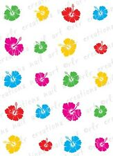 20 Nail Decals * TROPICAL COLORFUL HAWAIIAN FLOWERS * Water Slide Nail  Decals