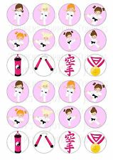 24 KARATE GIRL GIRLS  CUPCAKE TOPPERS ICED ICING FAIRY CAKE BUN TOPPERS