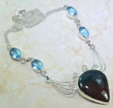 GORGEOUS GENUINE BLOODSTONE  BLUE TOPAZ GEM 925 STERLING SILVER NECKLACE 19 3/4""