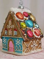 NEW Glass Gingerbread house Christmas Tree Ornament Gumdrops Beautiful FreeShip