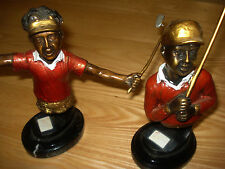 Pair Cast Bronze Golfers Golf Figures Busts H 7.5'' Patinated Swinging Clubs