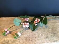 Artificial Pink Berry Spray with Leaves. Stem of Faux Snowberries / Snow Berry