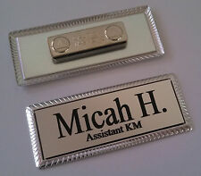 "SILVER Engraved Name Tag 3""x1"" on SILVER metal frame w/magnetic badge attachment"