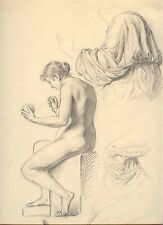 Master Drawing, Female Nude & Studies of Clothing, C. Griepenkerl 1800's SUPERB
