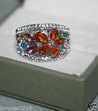 Alwand Vahan Rainbow-pink-blue-yellow Topaz Flower sterling silver wide ring 7