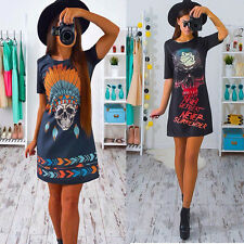 Women Top Skull Choker Casual Loose Tops T-Shirt Lace-up Short Mini Dress M US