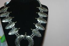 """Squash Blossom Silver Tone 21"""" Beaded Feather Design Necklace Set"""