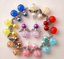 16 Guardian Angel Charms Acrylic Crackle Round Beads Wings COLOURS MAY VARY