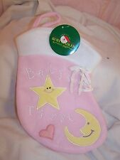 Christmas Stocking Baby's First Baby Girl Fireplace Santa Stockings Plush Pink