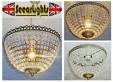 VINTAGE RETRO STYLE NEW CHANDELIER PENDANT LIGHT GLASS DROPS BAGUETTE BAG BASKET