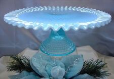 """FENTON GLASS""""MINT+PERF~VINTAGE~1940s""""BLUE OPALESCENT HOBNAIL""""13""""CAKE PLATE/STAND"""