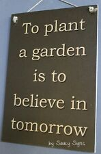 Plant a Garden Rustic Chic Shabby Gardening Country Wooden Patio Shed Wall Sign