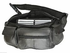 Black Delux Two Phone Leather Fanny Pack Waist Bag Travel Organizer Sac Men Lady