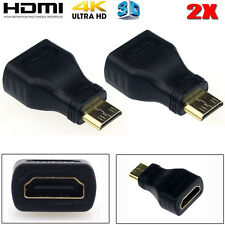 2pcs Mini HDMI Male Type C to Female Type A Adapter Connector For 1080p 3D TV