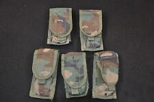 Lot of 5 USGI Double 30 Round 5.56 mag pouches, BDU Woodland Camo, Issued