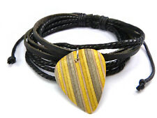 Skateboard Guitar Pick Bracelet, Recycled Skateboard Plectrum, Leather Cord