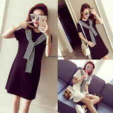 Black 2XL Korean Women Casual Loose Stripe Short Sleeve Shift Shirt Summer Dress