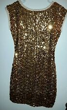 Lotus Gold Sequin Open Back Dress Size Medium