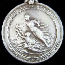 RARE U.S. MILITARY COAST GUARD SILVER LIFESAVING BRAVERY MEDAL ORDER